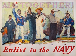 Enlist in the Navy Original War Poster