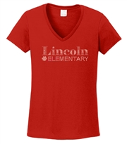 Lincoln Elementary Rhinestone Ladies V Neck