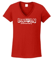 Lincoln Elementary Design A Ladies V Neck