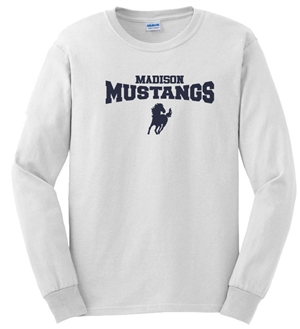 Madison White Long Sleeve Tee Design A