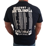 Camp Muscle History of Mr. Olympia 2017 T-Shirt.  Phil Heath ties ARNOLD and makes it 7 in a row.