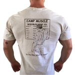 "Man up and check off ""legs"" or don't call yourself a bodybuilder! This t-shirt says it all. Camp Muscle® logo on the left front chest."