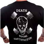 Death Before Satisfaction with skull and our Dumbbell 'crossbones', old school artwork is cool. Front Camp Muscle chest logo on left. 100% Cotton