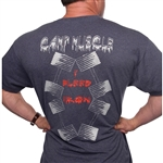 "This Camp Muscle t-shirt design pops with bright silver and blood Red in ""Bleeding"" lettering and four of our LOGO 140's. Camp Muscle LOGO on the front left chest."