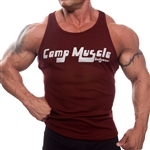 Camp Muscle's in house, hybrid style is a combination of our Full tank in the front and our Razor tank in the back so you can wear it in the gym or out. Slightly tapered, with tons of soft stretch.
