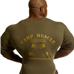 Our Camp Muscle Signature Logo w/dumbbells on the back. Our standard left chest logo. 100% Cotton