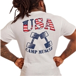 By request, we have added another shirt option with our USA logo with a large print on the back and the all-new Camp Muscle long logo on the front.