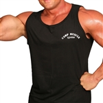 "Full coverage cotton jersey tank top with 2"" shoulder straps and Camp Muscle logo on the left chest. 100% cotton."