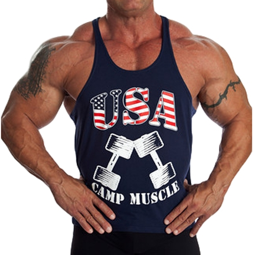 Show your American pride with a Camp Muscle USA Stringer Razor Tank. Red, White, and Blue that really pops! Made in the U.S.A. exclusively by Camp Muscle.