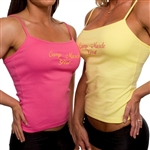 Camp Muscle Girl spaghetti tank with built-in shelf bra. Soft, high quality 92% combed cotton 8% Spandex.