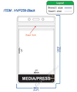 HVP259 MEDIA/PRESS title badge holder is a single pocket of Vertical badge holder.
