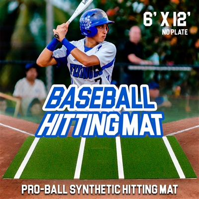 Pro-Ball Synthetic Turf Baseball/Softball Hitting Mat No Plate - 6 feet x 12 feet