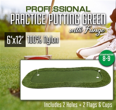 Professional Synthetic Nylon Turf Practice Putting Green With Fringe - 6 feet x 12 feet
