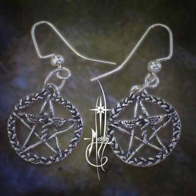 Caduceus Pentacle  Earrings
