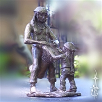 Statue of a Father and Son drumming together