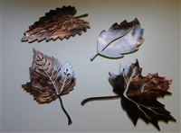 Leaf Assortment (4) Set 2 Metal Art Decor Copper/Bronze