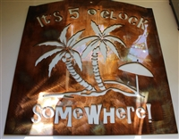 Tropical Its Five Oclock Somewhere Metal Wall Art Copper/Bronze