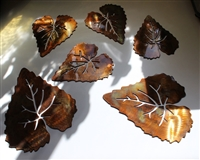 Metal Aspen Leaves Copper/Bronze plated (6)