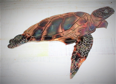 Aquatic Sea Turtle Metal Decor copper/bronze plated