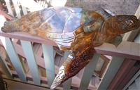 Aquatic Large Sea Turtle Metal Decor copper/bronze plated 34""
