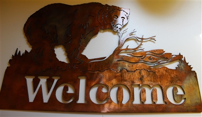BEAR IN THE WOODS Welcome Sign Metal Wall Art Decor