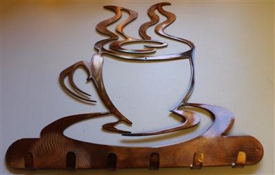 Coffee Cup Key Kitchen Utensil Holder Copper Bronze