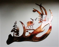 Deer Antler Scene Metal Wall Art