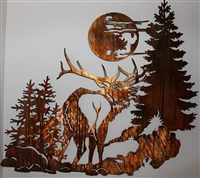 Elk in the Woods Metal Wall Art