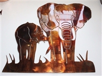 Elephant Pair Metal Wall Art Accent