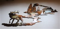 Elk Mountain Cabin Scene Metal Wall Decor