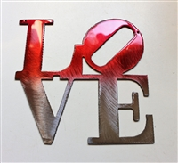 "LOVE ""Boxed ""Metal Wall Art Decor Ruby  6"" x 6"""