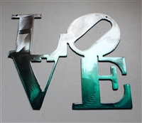 "LOVE ""Boxed ""Metal Wall Art Decor Teal  6"" x 6"""