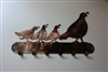Quail Mama & Chicks Key rack - Copper/Bronze