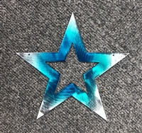 "Star Medium (7 1/2"") Teal Tainted Metal Wall Art Decor"