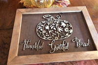 Thankful Grateful Blessed Pumpkin Wall Decor