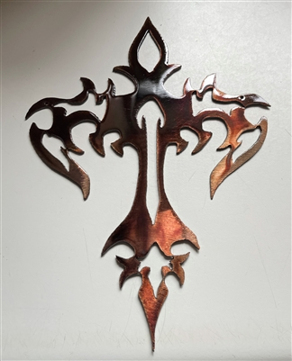 Tribal Fire Cross Metal Wall Art Decor