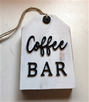 Coffee Bar Wooden Tag Tiered Tray Accent