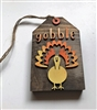 Gobble Turkey Wooden Tag Tiered Tray Shelf Accent