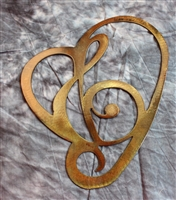 Musical Treble Clef in Heart Metal Wall Art