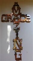 Amazing Grace Cross Metal Wall Art Copper/Bronze Plated