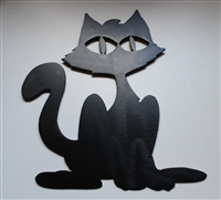 Halloween Black Cat Metal Wall Art