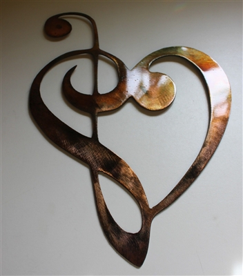 "Music Heart Note Cake Topper 6"" Metal Art"