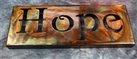 Metal Wall Art Canvas HOPE -- Copper/Bronze