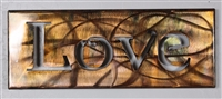 Metal Wall Art Canvas LOVE -- Copper/Bronze