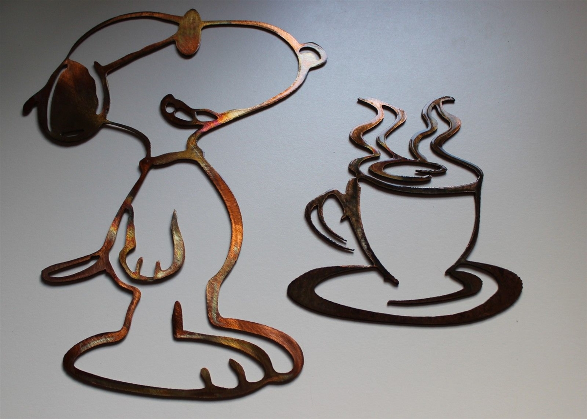 Coffee Drinking Snoopy Set Copper Bronze Plated Metal Art