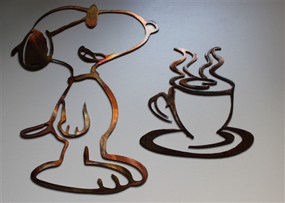 Coffee Drinking Snoopy Set Copper/Bronze Plated Metal Art