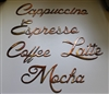 Coffee Words Set of 5 (Small) Metal Word Art Decor