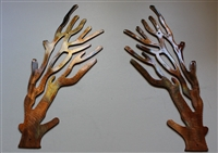 Coral Branch Mirrored Pair Metal Decor