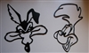 Wile E Coyote and Roadrunner heads Metal Wall Art