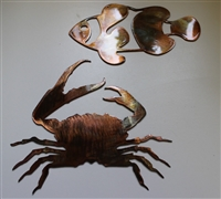 Clawing Crab and Clown Fish Metal Wall Art Accents